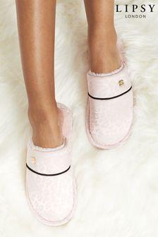 Lipsy Pink Printed Satin Mule Slipper