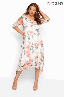 Yours White Curve Floral Cowl Neck Mesh Dress