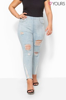 Yours Curve Ripped Raw Hem Jenny Jeggings
