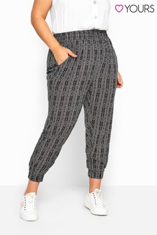 Yours Black Curve Tribal Stripe Crinkle Harem Trousers