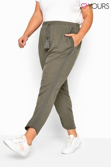 Yours Khaki Curve Crinkle Embroidered Tapered Trousers