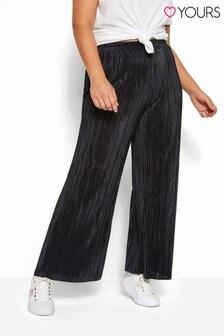 Yours Black Curve Plisse Wide Leg Trousers