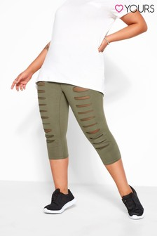 Yours Green Curve Ripped Mesh Insert Cropped Leggings