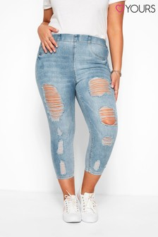 Yours Curve Extreme Distressed Cropped Jenny Jeggings