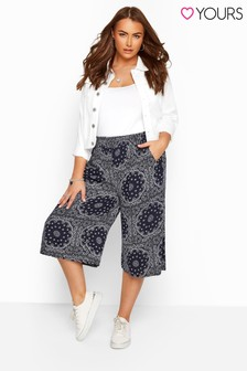Yours Navy Curve Tile Print Crinkle Culottes