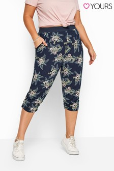 Yours Navy Curve Floral Cropped Harem Trousers