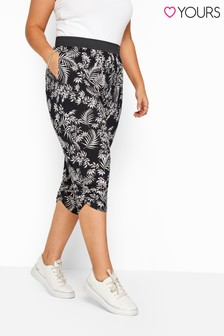 Yours Black Curve Tropical Leaf Cropped Harem Trousers