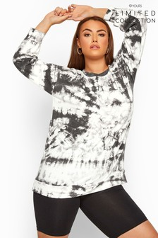 Yours Grey Limited Collection Tie Dye Sweatshirt