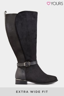 Yours Stretch Faux Suede Knee High Boots In Extra Wide Fit