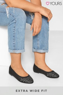 Yours Diamante Ballerina Pumps In Extra Wide Fit