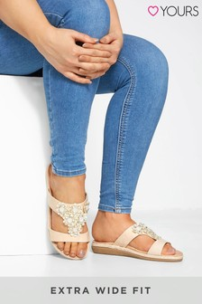 Yours Nude Flower Diamante Mules In Extra Wide Fit