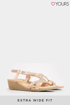 Yours Gold Diamante Twist Wedge Sandals In Extra Wide Fit