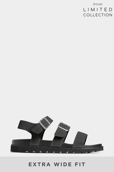 Yours Limited Black Collection Footbed Buckle Sandals In Extra Wide Fit