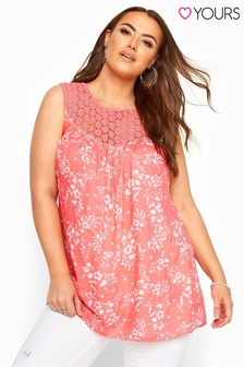Yours Pink Sleeveless Floral Crochet Top
