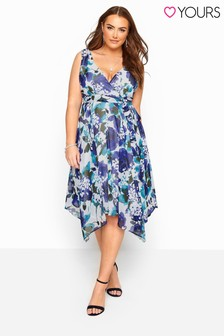 Yours Blue Curve Floral Hanky Hem Dress
