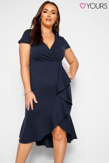 Yours Navy Curve Wrap Ruffle Dress
