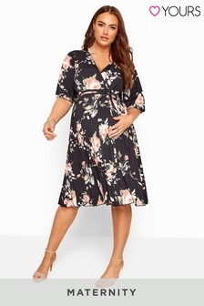Yours Bump It Up Maternity Floral Pleated Wrap Dress