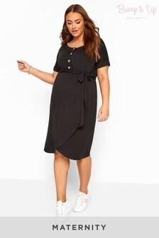 Bump It Up Black Maternity Horn Button Wrap Dress