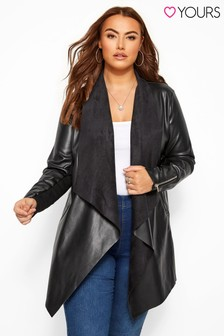 Yours Curve Faux Leather Waterfall Jacket