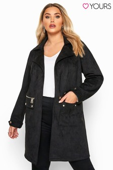 Yours Curve Faux Suede Duster Jacket