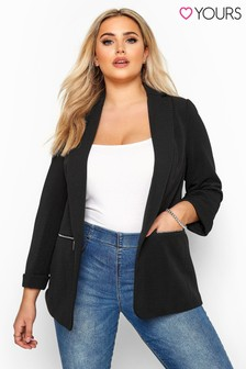 Yours Curve Ribbed Zip Pocket Blazer Jacket