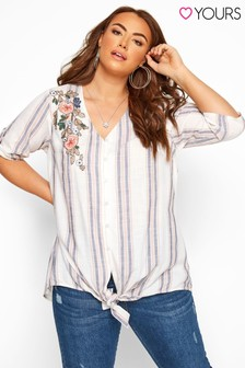 Yours White Curve Striped Embellished Tie Front Shirt