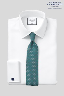 Charles Tyrwhitt White Twill Slim Fit Double Cuff Shirt