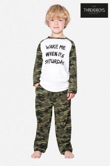Threadboys Khaki Camo Printed Long Top And Bottom Pyjama Set