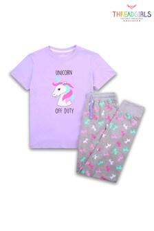 Threadgirls Lilac Unicorn Print Pyjama Set