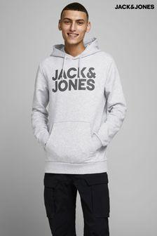 Jack & Jones Grey Logo Overhead Hoodie