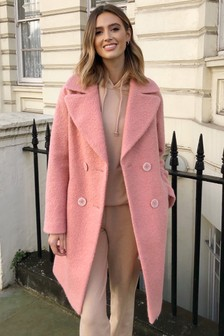 Lipsy Pink Boucle Textured Coat