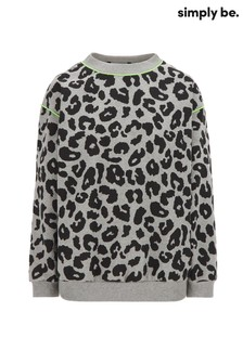 Simply Be Grey Leopard Animal Sweatshirt