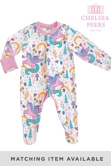 Chelsea Peers White Unicorn Print NYC Baby Rainbow Unicorn Button Up Eco Pj Set