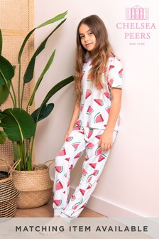 Chelsea Peers White Watermelon Print NYC Kids Watermelon Eco Long Pj Set
