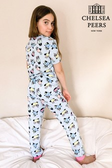 Chelsea Peers Blue Unicorn Panda Print NYC Kids Eco Short Sleeve Printed PJ Set