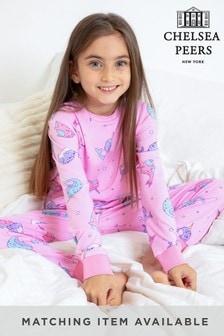 Chelsea Peers Pink Whale Print NYC Kids Eco Long Sleeve Printed PJ Set
