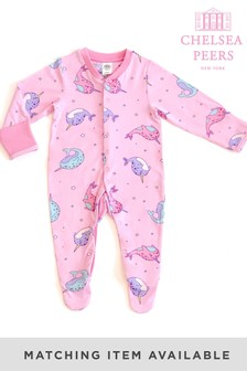 Chelsea Peers Pink Whale Print NYC Baby Magic Narwharl Eco Pj Set
