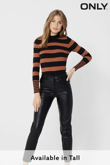 Only Black Tall High Waisted Faux Leather Trousers