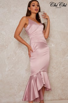 Chi Chi London Pink Satin Finish Fish Tail Dress