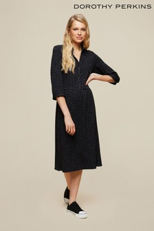 Dorothy Perkins Black Billie And Blossom: Animal Jaquard Midi Shirt Dress
