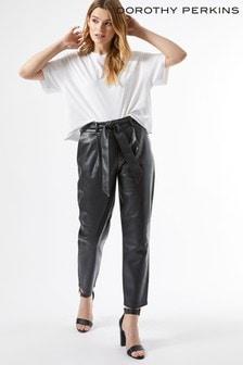 Dorothy Perkins Black Pu Belted Trouser