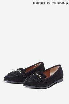 Dorothy Perkins Black Leather Lime Loafer