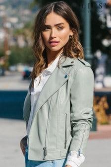 Lipsy Sage Green Regular Faux Leather Biker Jacket