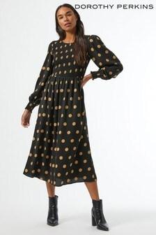 Dorothy Perkins Black Shirred Neck Mini Dress Spot