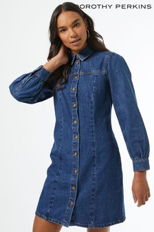 Dorothy Perkins Blue Mid Wash Seam Shirt Dress