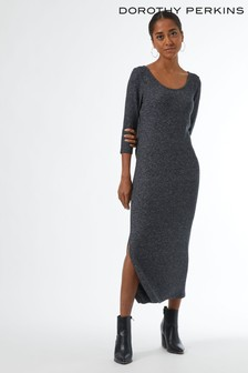 Dorothy Perkins Grey Petites 3/4 Sleeve Brushed Midi Dress