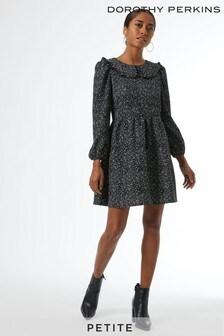 Dorothy Perkins White Petites Mono Print Collar Detail Fauchette Fit & Flare Dress