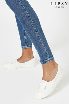 Lipsy White Brodeire Lace Up Pump Trainer