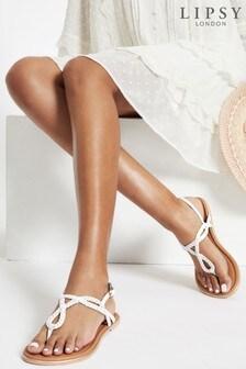 Lipsy White Regular Fit Leather Plaited Weave Sandal