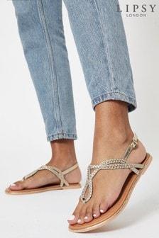 Lipsy Gold Regular Fit Leather Plaited Weave Sandal